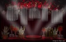 红色婚礼迎宾区