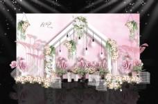 粉色水彩花房婚礼迎宾区效果图