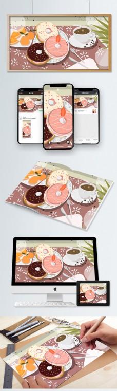 下午茶甜点粉色甜甜圈手绘插画