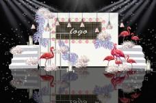 白粉色系火烈鸟主题婚礼效果图