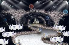 星空婚礼仪式区舞台背景效果图
