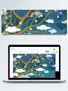挂着星星的树木枝干白云卡通背景