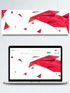 红色渐变三角形多边形banner背景设计