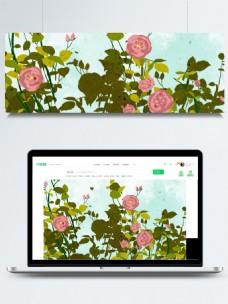 粉色玫瑰花枝手绘背景