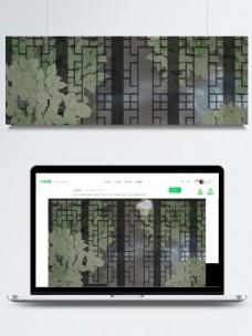 黑色木门花格绿色树叶卡通背景