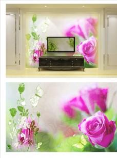 玫瑰花家和富贵电视背景墙