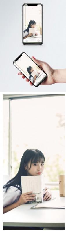 看书的美女手机壁纸