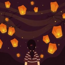 小女孩孔明灯