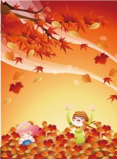 小女孩落叶里玩耍