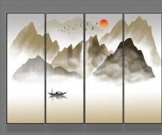 新中式意境抽象水墨山水条幅画