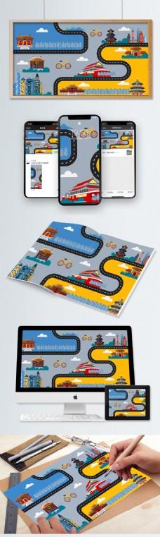 十一国庆节旅游地图矢量插画设计