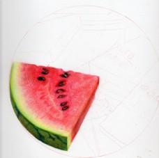 彩铅手绘西瓜