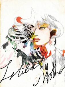 水墨斑马时尚英文抽象手绘美女
