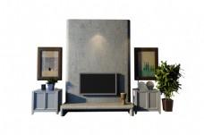 现代欧式背景墙设计模型
