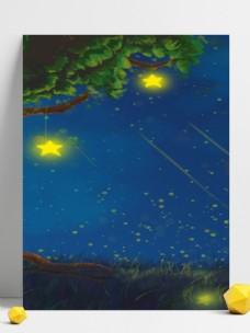夜空下系在大树上的星星广告背景