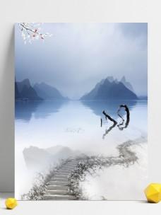 文艺小清新山水风情幽静典雅广告背景
