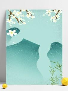 文艺小清新水面倒影花朵柳枝和青山广告背景