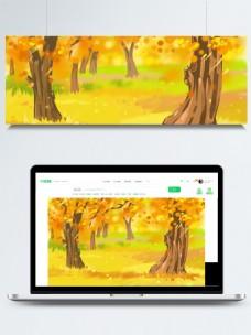 彩绘金秋树林插画背景设计
