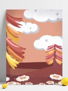 手绘卡通彩色梦幻森林广告背景