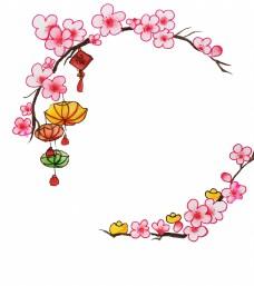 莲花灯花开装饰边框插画