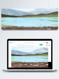 远山江水天空卡通背景