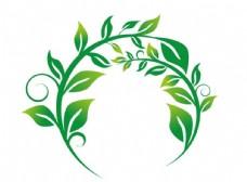 圆形绿叶缠枝树藤矢量