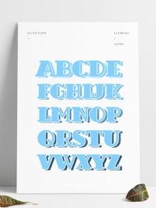 手绘水彩蓝色创意大写字母合集