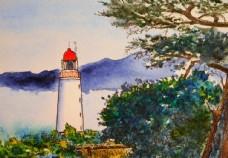 灯塔与茂密的树丛绘画