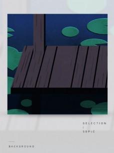 荷叶池塘里的黑色木屋卡通背景