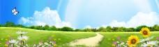 草地树林野花背景