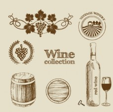 手绘葡萄酒标签