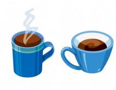 矢量蓝色咖啡杯元素