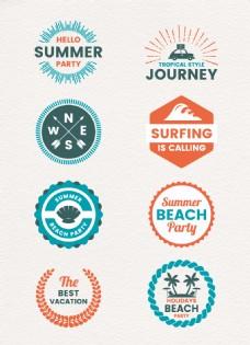 彩色扁平化夏日度假旅行标签设计