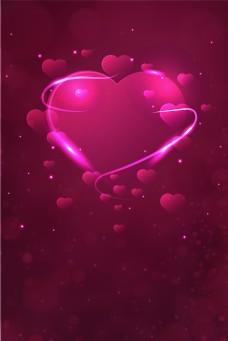 紫红色爱心光效背景