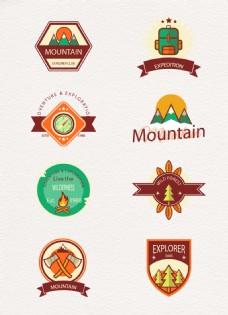户外探险登山标签矢量素材