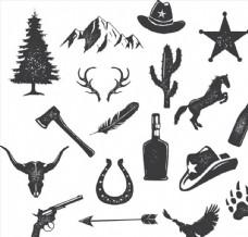 黑白磨损野营狩猎图案