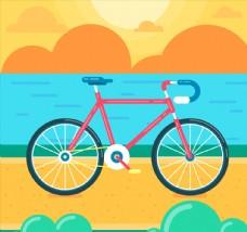 創意海邊的單車矢量素材