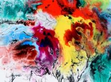 北欧抽象油画水溶水彩五彩装饰画