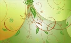 綠色背景花紋