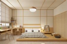 日系和风简约现代卧室效果图