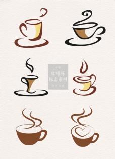 创意的咖啡杯标志素材