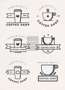 简约手绘的咖啡杯标志素材