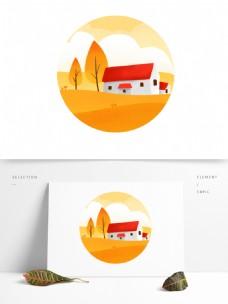 二十四节气之秋分山坡红房子图标元素