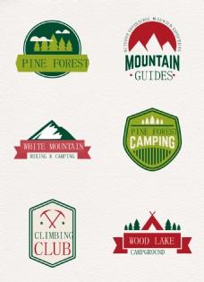 6款户外登山运动标签矢量图