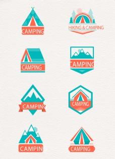 彩色野营标签设计矢量素材