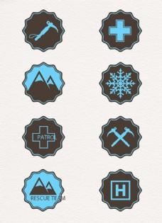 8款登山救援元素图标矢量素材