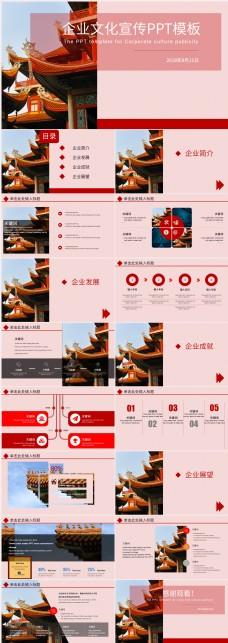 国企红色庄重风企业文化宣传PPT模板