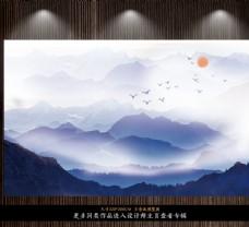 新中式水墨山水飞鸟意境背景墙