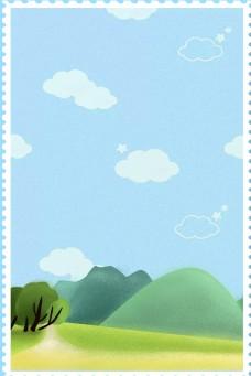 卡通清新蓝天白云边框背景