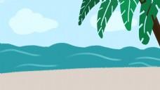 清新简约夏季海滩椰树海浪背景设计